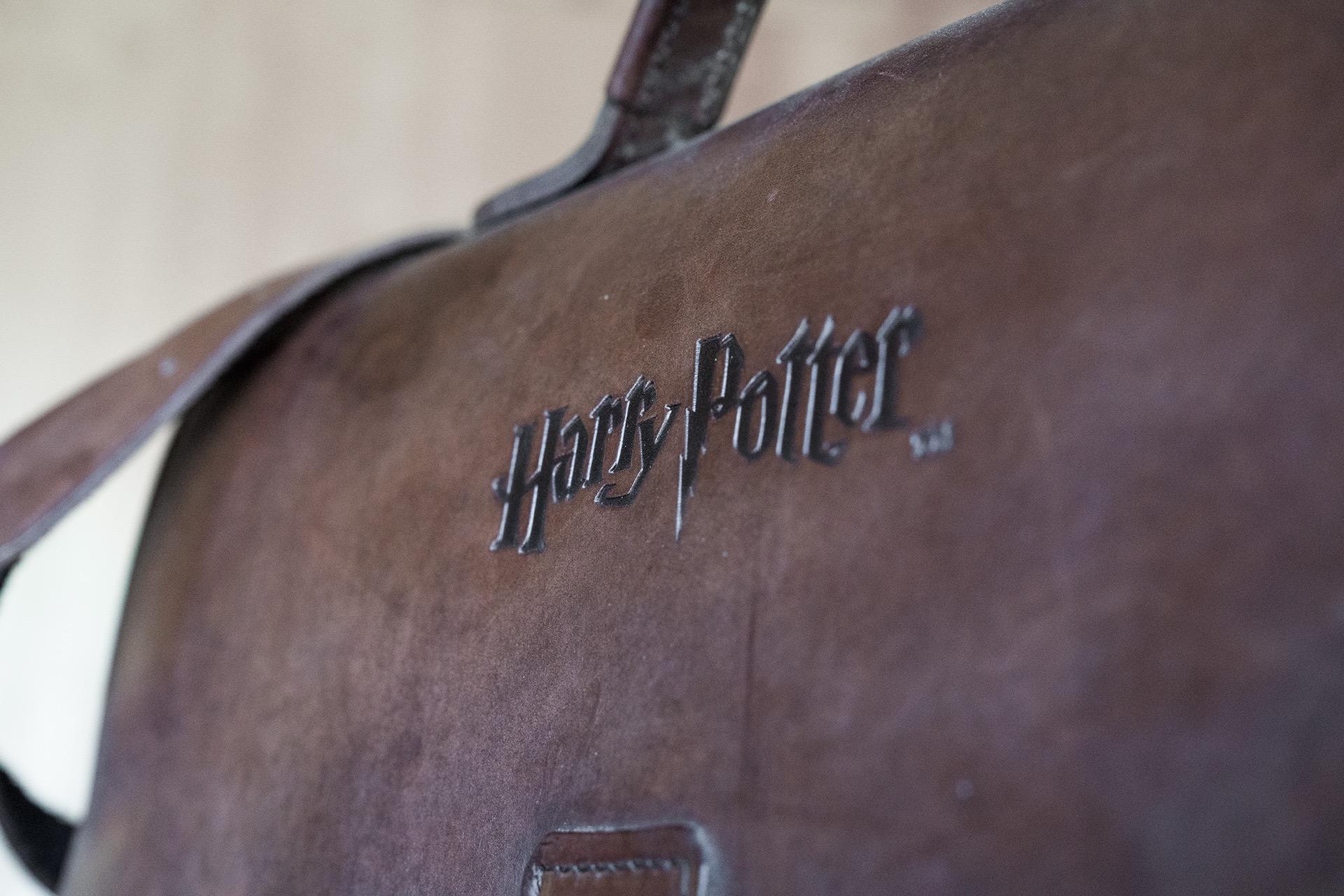 Harry Potter logo in leather satchel.