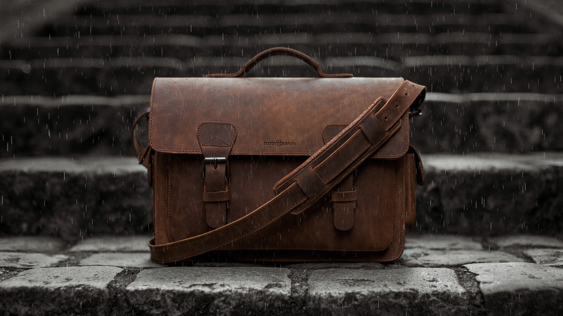 Leather bag exposed to rain.